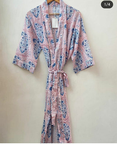 Stylish Bathrobe in Pure Cotton Bathrobe  in Hand Block Print 002BG