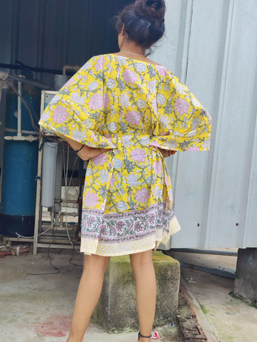 Short caftan in Hand Block Print 002BG