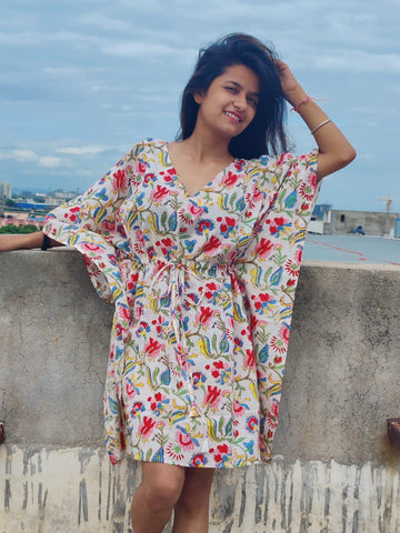 Multi Color caftan in Hand Block Print in Pure Cotton 002BG
