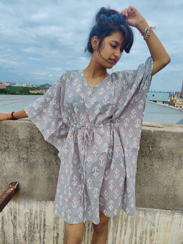 Greyish caftan in Hand Block Print in Pure Cotton 002BG
