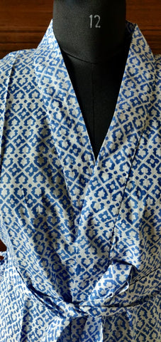 Bluish Gear Wear Caftan in Hand Block Print in Pure Cotton 002BG