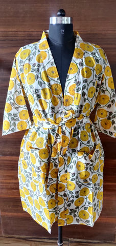 Indian Yellowish Summer Wear Caftan in Hand Block Print in Pure Cotton 002BG