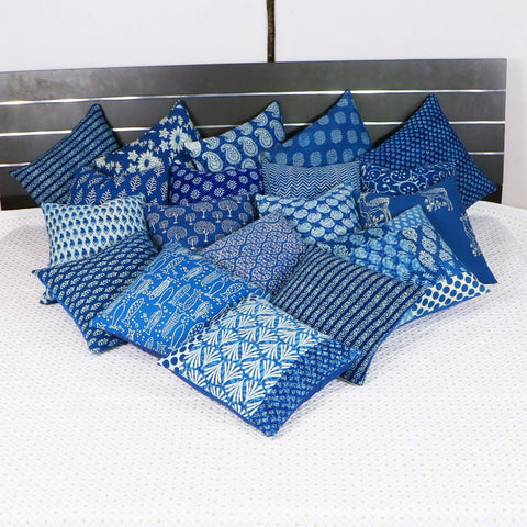 Bagru Indigo Cotton Cushion Cover Pair 0012BG