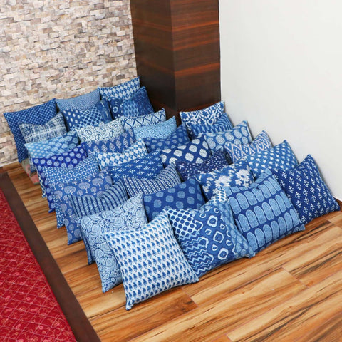 Multi Design Indigo Cotton Cushion Cover Pair 0012BG