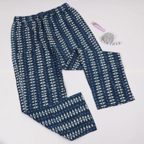 Indigo Pattern Trousers in Hand Block Print
