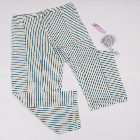 Casual Line Pattern Trousers in Hand Block Print