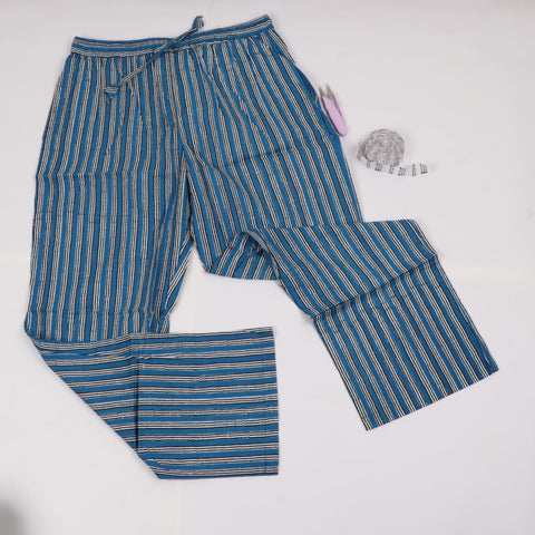 Girls Summer Line Pattern Trousers in Hand Block Print