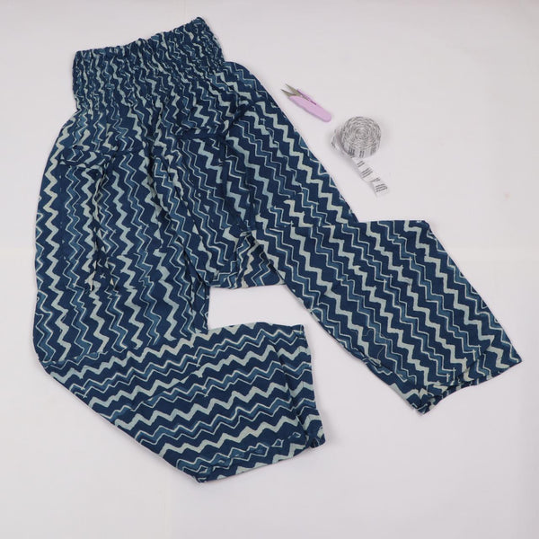 Indigo Wave Pattern Trousers in Hand Block Print