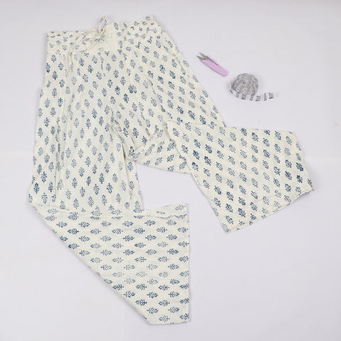 White Mughal Pattern Trousers in Hand Block Print