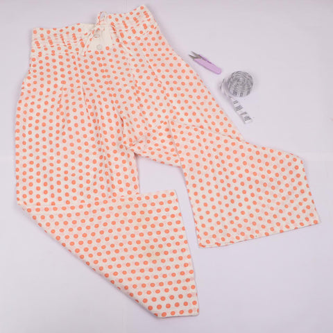 Orange Dotted Trousers in Hand Block Print