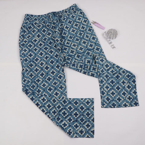 Indigo Diamond Pattern Trousers in Hand Block Print