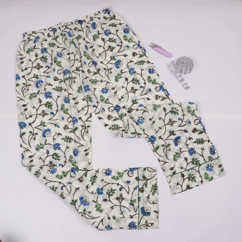 Flower Print Trousers in Hand Block Print