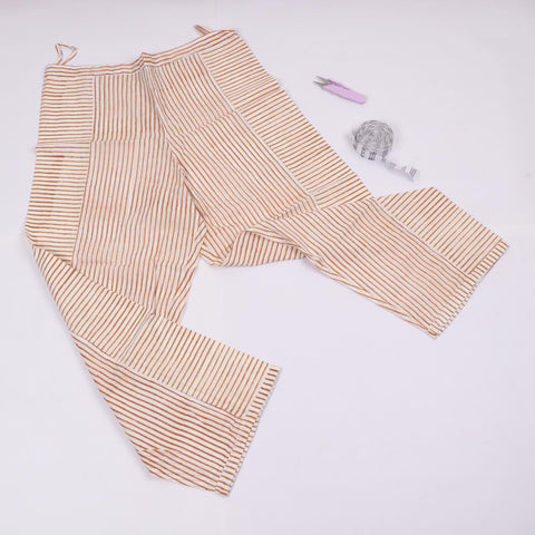 Brown Line Trousers in Hand Block Print