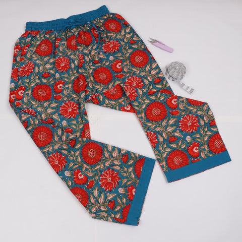 Hot Red Trousers in Hand Block Print