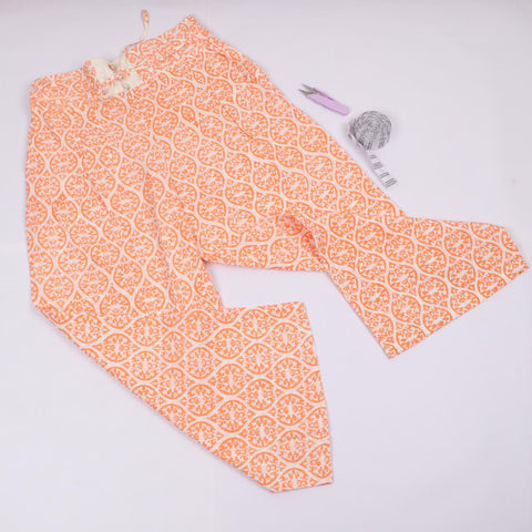Orange Trousers in Hand Block Print