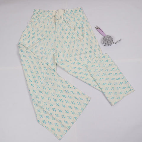 White Greenish Mughal Trousers in Hand Block Print