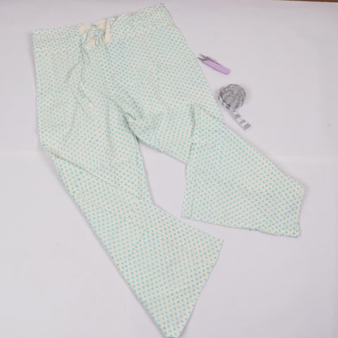 Light Green Trousers in Hand Block Print