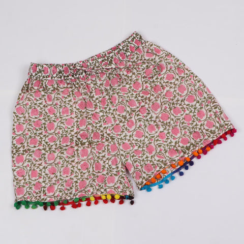 Girls Summer Hots Shorts in Hand Block Print