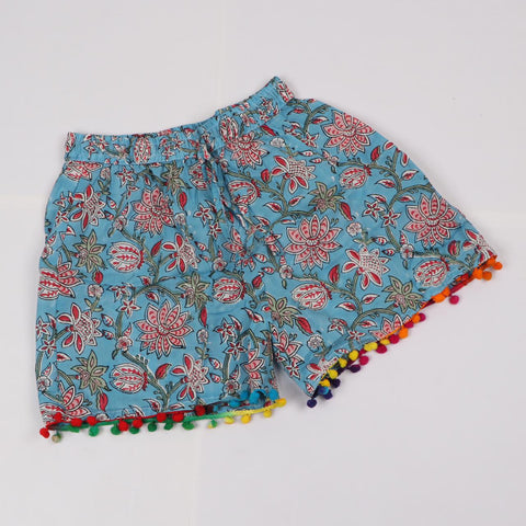 Multi Color Shorts in Hand Block Print