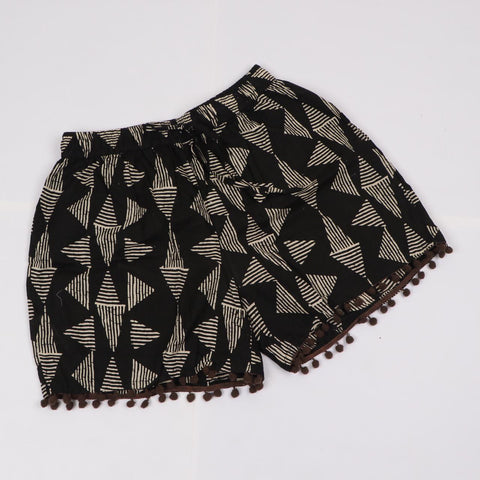 Black Hots Shorts in Hand Block Print