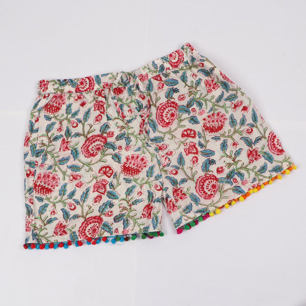 Multi Colorshade Shorts in Hand Block Print