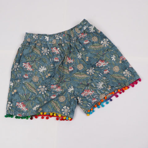Greenish Colorshade Shorts in Hand Block Print