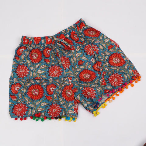 Hot Red Shorts in Hand Block Print