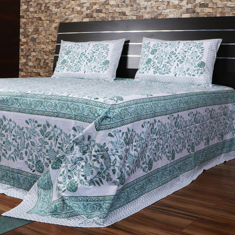 Hand Block Print Bed Sheet Set Multi Color Bed Cover