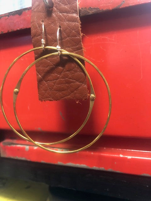 Brass hoops with sterling silver