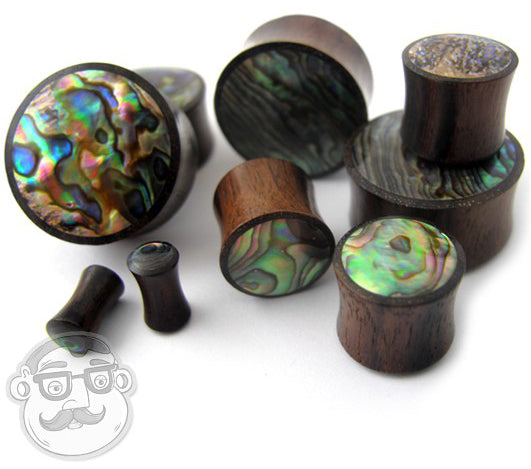 Wood Plugs With Abalone Shell Inlay