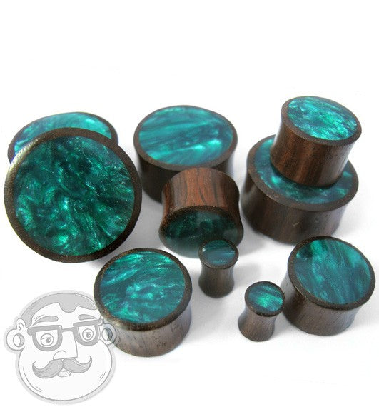 Sono Wood Plugs With Green Resin Inlay