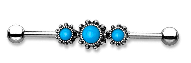 Triple Turquoise Stone Industry Piercing Jewelry