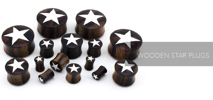 Natural Wooden Plugs with White Star