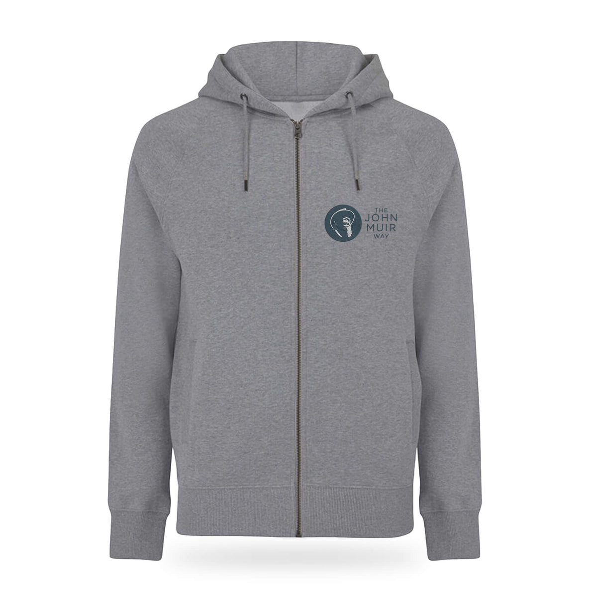 john muir way embroidered zip hoodie grey