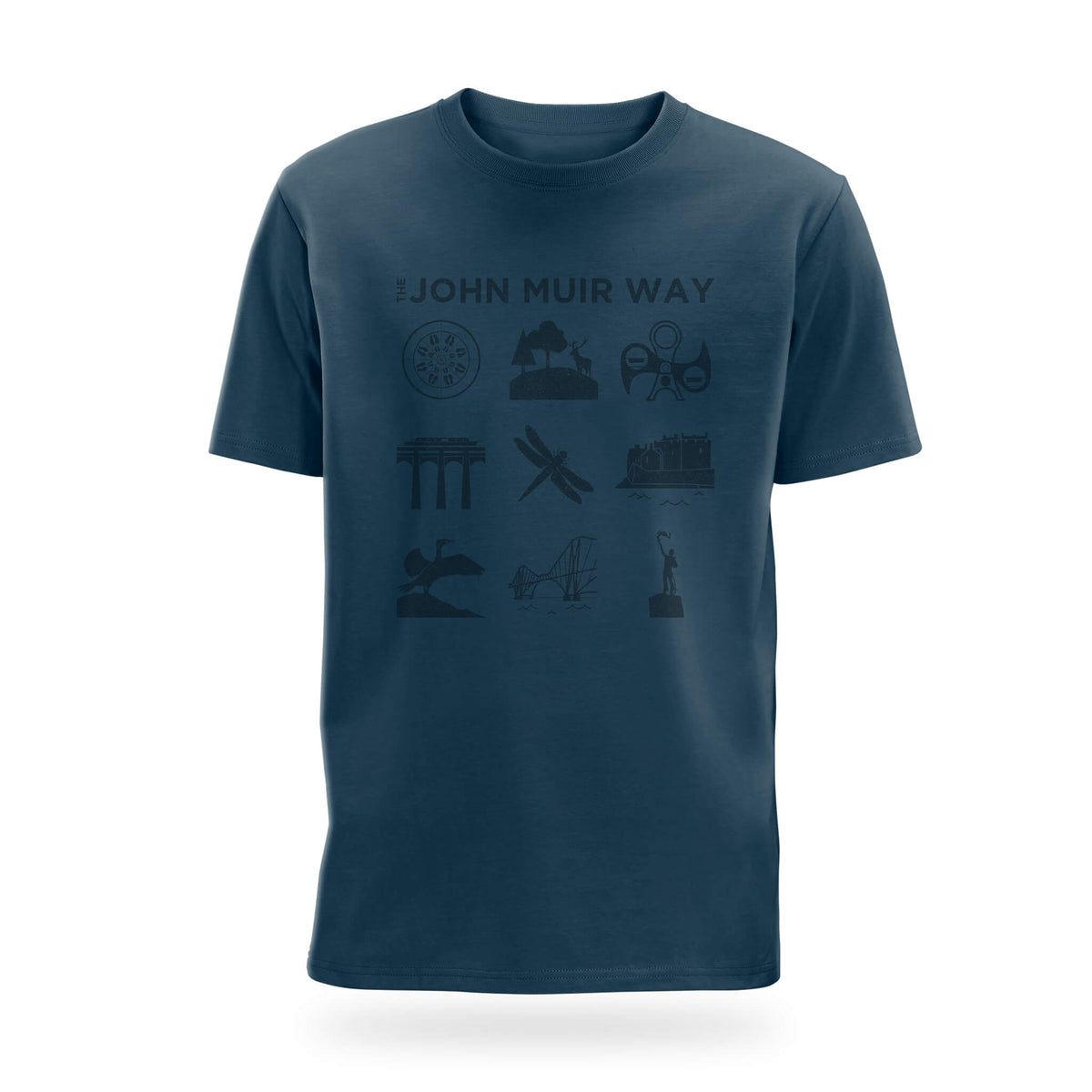 john muir way icon t-shirt denim blue