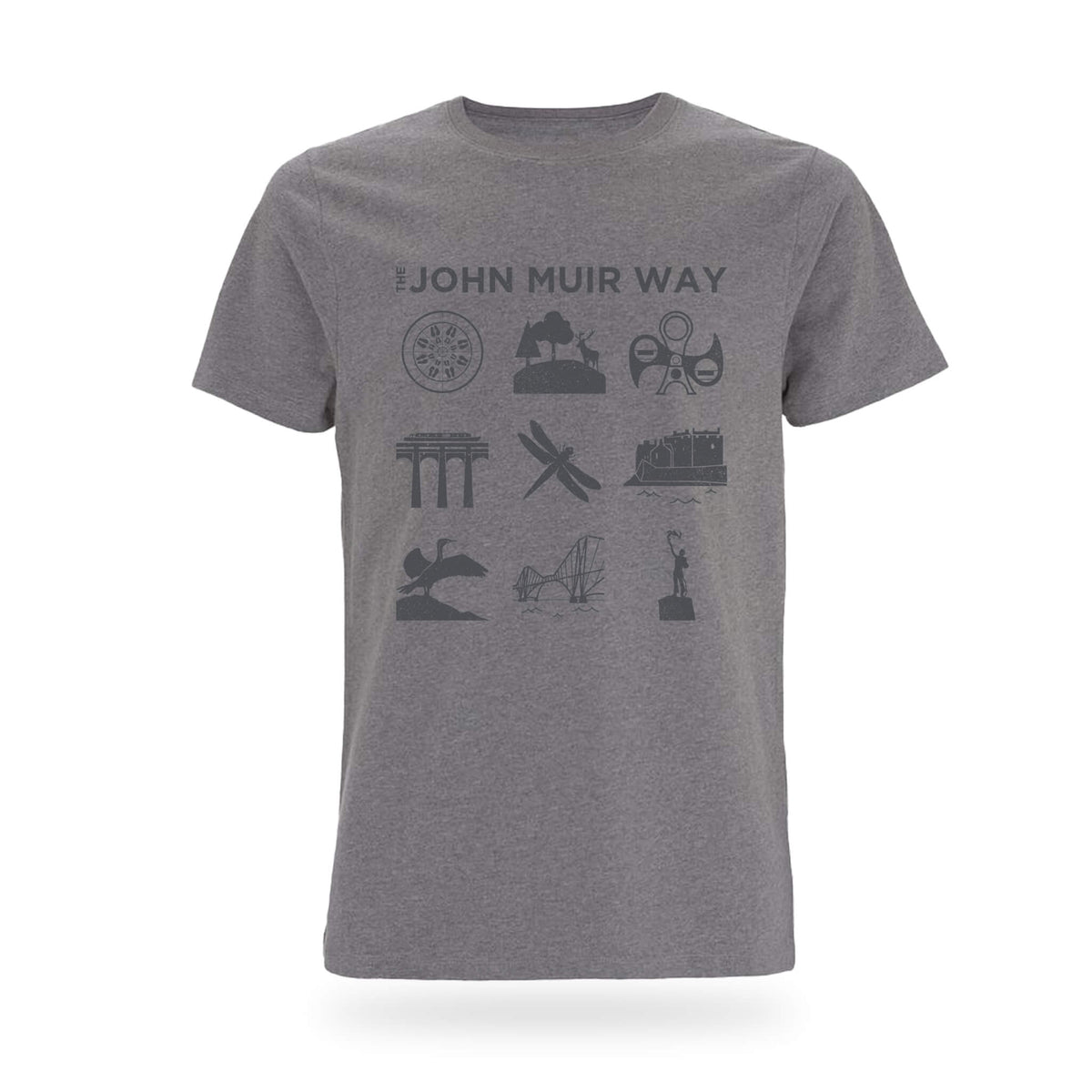 john muir way icon t-shirt grey