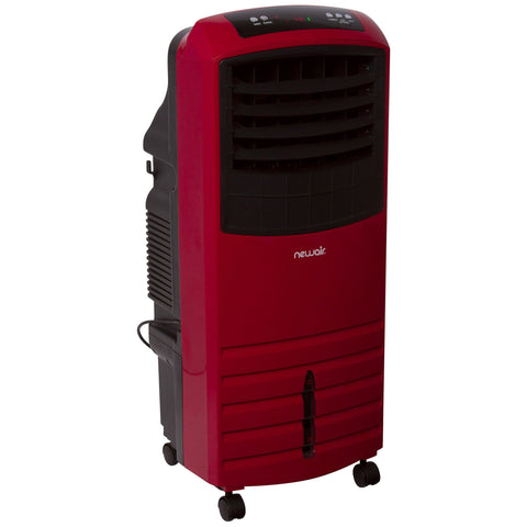 Image of NewAir 2-in-1 Evaporative Cooler and Fan, 300 sq. ft. with Large 21 qt. Water Tank and Easy Glide Casters in Red