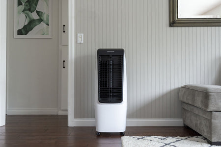 Frigidaire 2-in-1 Evaporative Air Cooler and Fan, 350 sq. ft. with 4 Fan Speeds and Large Detachable 5 Gallon Water Tank