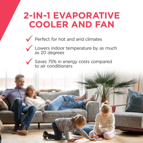 Image of Frigidaire 2-in-1 Evaporative Air Cooler and Fan, 250 sq. ft. with Wide Angle Oscillation & 4 Fan Speeds