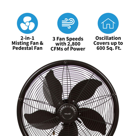 NewAir Outdoor Misting Fan and Pedestal Fan Combination, 600 sq. ft. With 3 Fan Speeds and Sturdy All Metal Design, Connects Directly to Your Hose