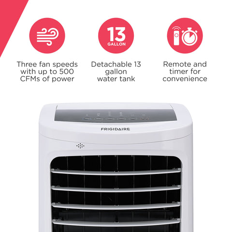 Frigidaire 2-in-1 Evaporative Air Cooler and Fan, 450 sq. ft. with 3 Fan Speeds and Large Detachable 13 Gallon Water Tank
