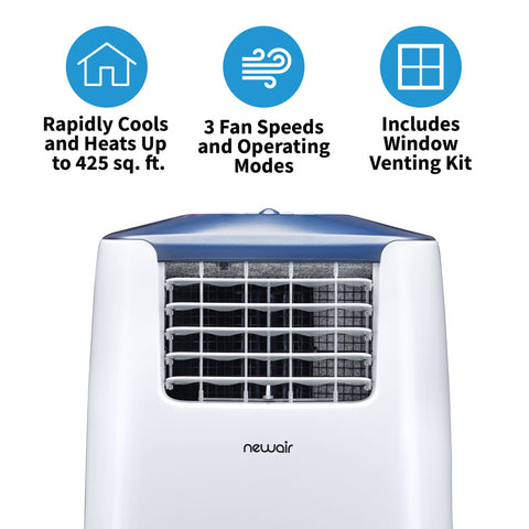 Image of NewAir Portable Air Conditioner and Heater, 14,000 BTUs (8,500 BTU, DOE), Cools 525 sq. ft., Easy Setup Window Venting Kit and Remote Control