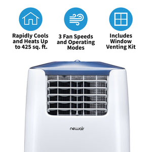 NewAir Portable Air Conditioner and Heater, 14,000 BTUs (8,500 BTU, DOE), Cools 525 sq. ft., Easy Setup Window Venting Kit and Remote Control