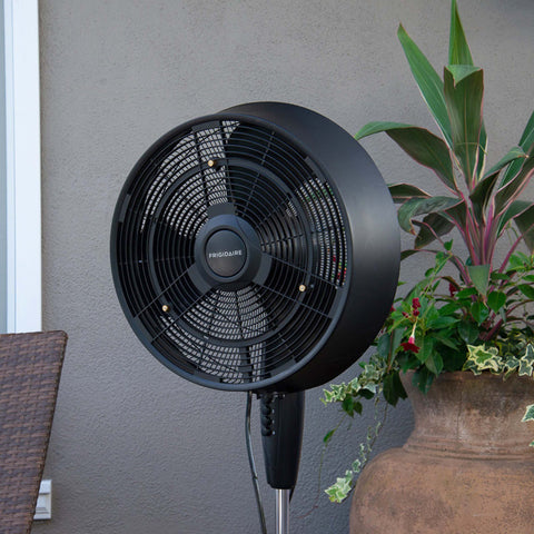 Frigidaire Outdoor Misting Fan and Pedestal Fan in Black, Cools 500 sq. ft. with 3 Fan Speeds and Wide-Angle Oscillation