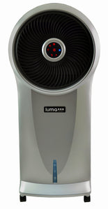 Luma Comfort 2-in-1 Evaporative Cooler and Fan, 250 sq. ft., 3 Fan Speeds and Removable Water Tank, in Silver