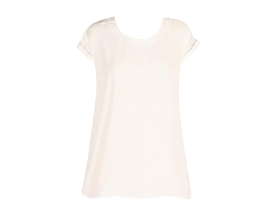 WHITE SILK SHORT SLEEVE TOP