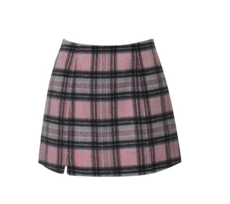 CHER PINK CHECK SKIRT