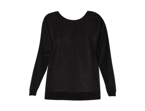 BLACK JACQUARD SWEAT TOP