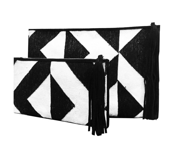 Geometric Dhurrie Clutches