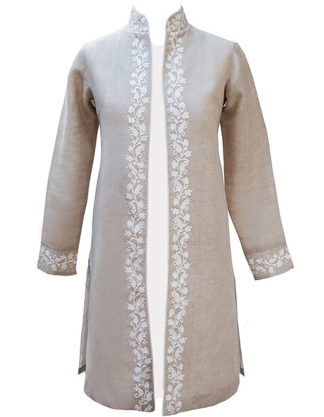 Embroidered Natural Linen Coats